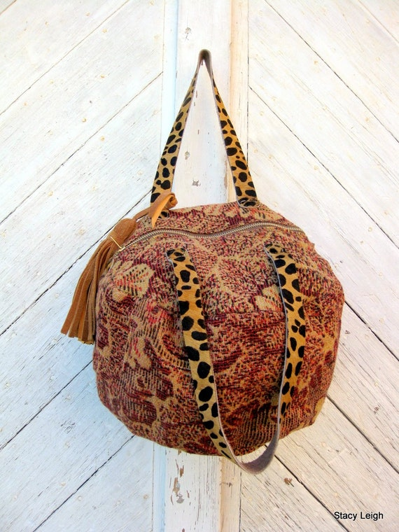 Carpetbag 1800's Handwoven Textile Slouchy Bag with Leopard Straps by Stacy Leigh Ready to Ship