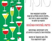25 5x7 Wine & Martini Glass Holiday Cocktail Party Invitations