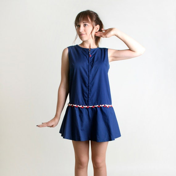 Vintage Romper - 1960s Navy Blue Nautical Sailor Playsuit - Medium to Large