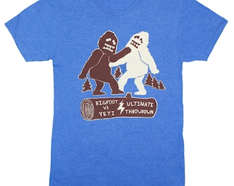 Bigfoot Vs Yeti Ultimate Throwdown - Unisex Mens T-Shirt Abominable Snowman Sasquatch Showdown Battle Awesome Funny Tee Shirt Blue Tshirt
