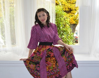 Pink Black Silk Vintage 80s Diane Freis Fres S M Petite Glencheck Designer Dress