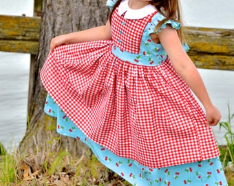 Georgia Dress in Sew Cherry by Riley Blake Ready to Ship size 7 ON SALE