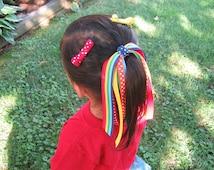 Ponytail Hair Streamer in Rainbow Ribbons - Ponytail Holder - Rainbow Hair Streamers