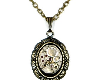 Steampunk Antiqued Brass Victorian Necklace with Vintage Benrus Watch Movement by Velvet Mechanism