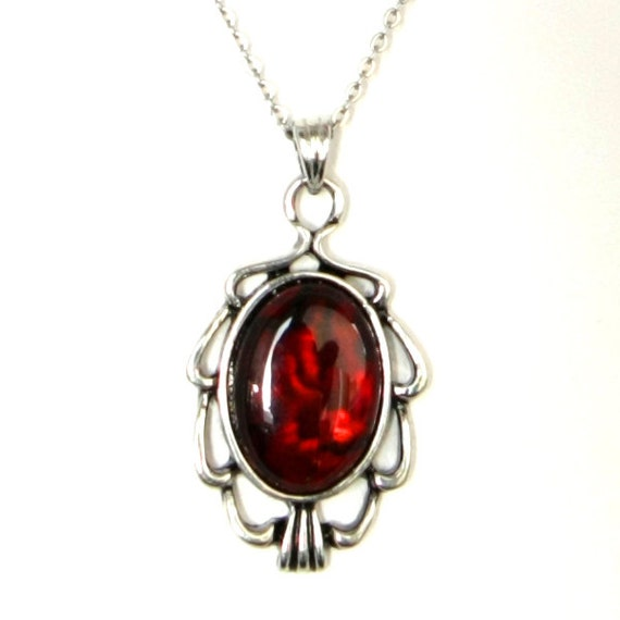 Gothic Vampire Art Nouveau Style Antiqued Silver Filigree Necklace with Dark Blood Red Paua Cabochon by Velvet Mechanism