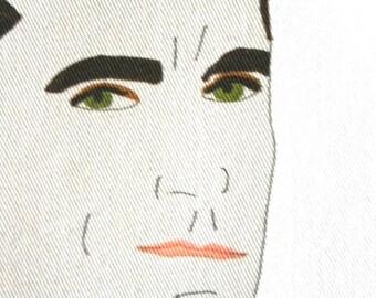 madmen mid century modern portrait face don draper print