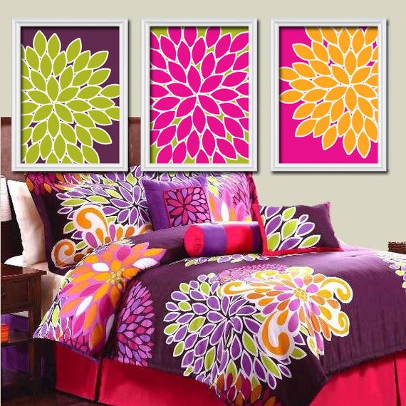 Orange Green Purple Room: Wall Art Canvas Artwork Bold Colorful Flowers Floral By