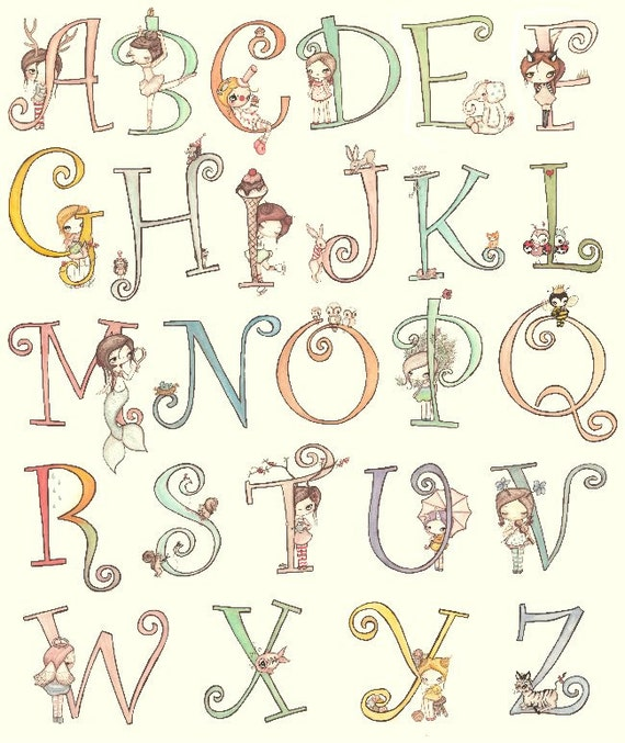 letter a name for girl custom name print 11 x 14nursery letters animals 12003
