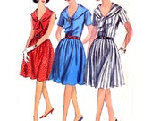 1960s Sailor Collar Dress Pattern - Simplicity 5832 - Pleated Skirt - Proportioned Short, Medium, Tall - Size 18