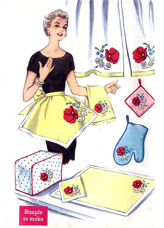 1950s Apron / Pot Holders / Curtains / Toaster Cover - Simplicity 1845 - Poppy Transfer - Vintage Sewing Pattern Uncut