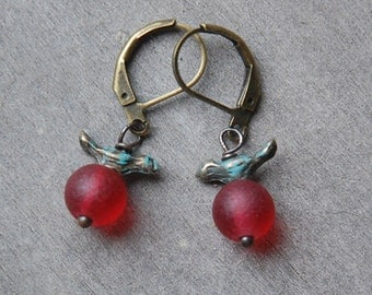 Bird Earrings, Red Glass, Holiday Earrings, Woodland, Petite earrings