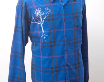 Men's Flannel Shirt / Upcycled Blue Plaid Shirt with Screen Printed Tree / Size Large XL