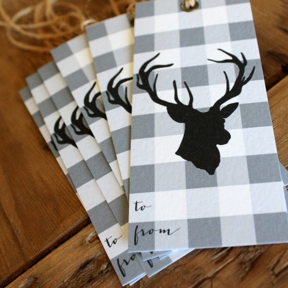gingham and deer silhouette holiday gift tabs set (6)