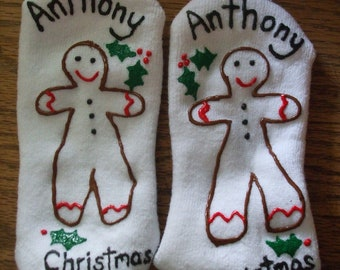 Christmas Personalized Socks Hand Painted Children's size