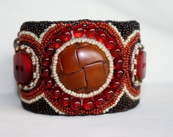 Chocolate Cherry Cuff with Vintage Leather Button
