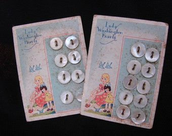 2 Vintage Cards of Lady Washington Pearls Brand Buttons