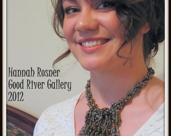 CLEARANCE SALE Beaded Rainforest Necklace Beadweaving Semiprecious and Glass OOAK by Hannah Rosner