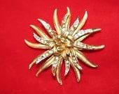 Vintage 1960's Jewelry Coro Floral Star Burst Rhinestone Brooch, Gold & Silver unique style Rhinestones retro 60's fashion