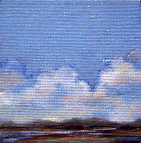 DEEP, original painting, 100% charity donation, oil painting, 4x4, canvas, landscape, clouds, sky