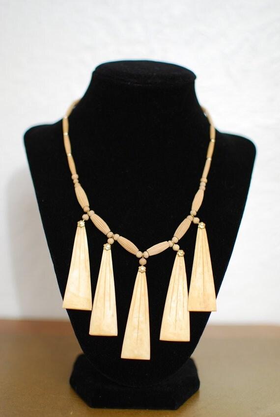 vintage 1970s / wood / tribal / bone / fringe / statement necklace