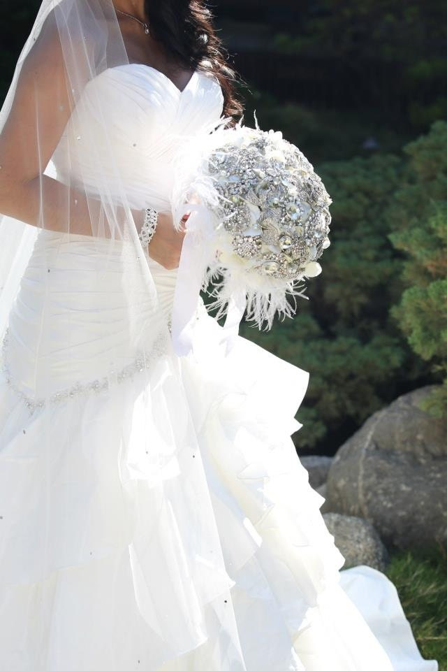 Wedding Bouquets With Feathers And Crystals : Crystal rose and feather wedding bouquet brooch by