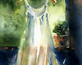 Watercolor Print white gown- Watercolor Christmas Lights - Garden - Alisa Wilcher