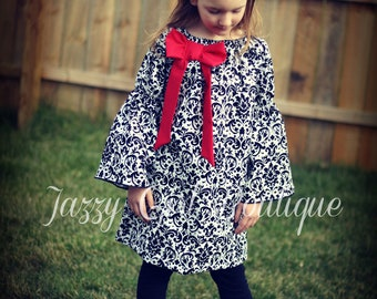 Girls Christmas Peasant Dress Black and White Damask with Red Bow Accent