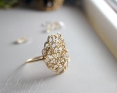 NEW Bridal Jewelry- Crocheted Circle Ring in Gold Fill Wire, Free Shipping