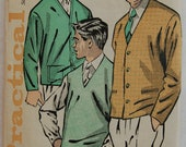 """1960s vintage original Practical 5706 sewing pattern Men's pullover or cardigan Chest 40""""-42"""""""