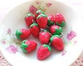 6pcs Strawberry Charms