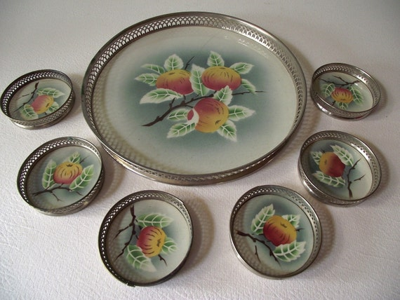 Antique Tray and Coaster Set - 1920s -  German Porcelain and Silver