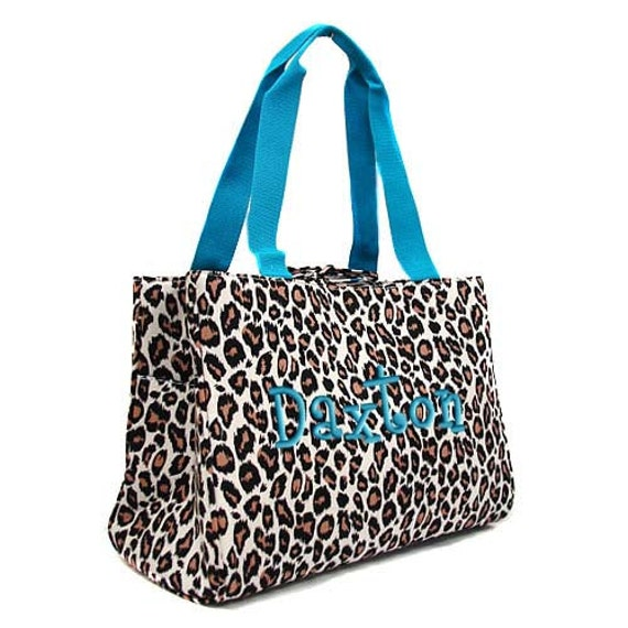 diaper bag personalized leopard blue trim monogrammed by parsik93