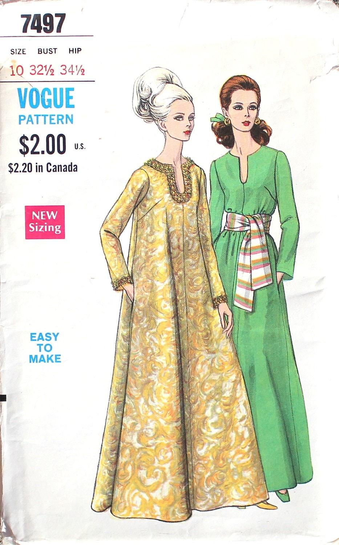 1960s caftan vintage sewing pattern bust 32 5 by sewvintagenow