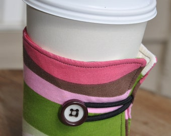 Wrap Around Coffee Sleeve - Two Shades of Pink, Green, Brown Fabric Wave