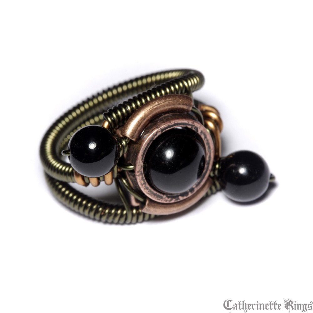 onyx ring steunk jewelry ring black onyx orbit