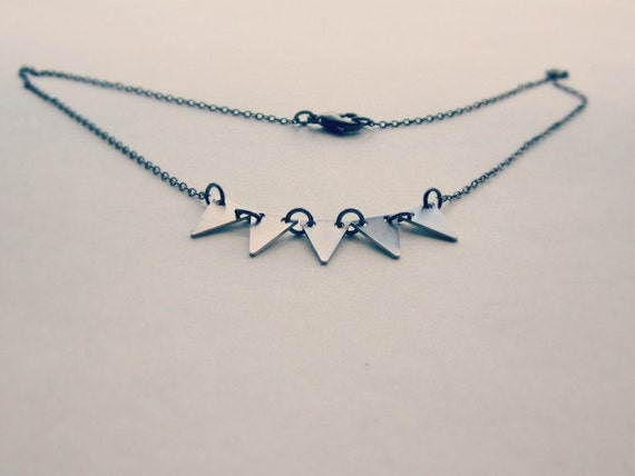 Silver bunting necklace - triangle jewelry - tribal jewelry - everyday necklace - mixed metals