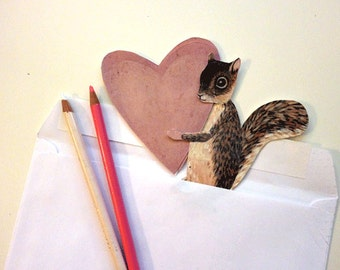 DIY Clever Heart Squirrel Love Card for  Anniversary, or I Love You, Woodland Animals, Brown, White, Pink