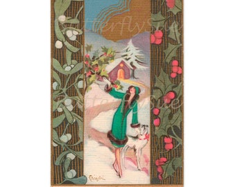 Art Deco Christmas Collectors Postcard,Chiostri,Lady with  Borzoi in  Snowy Landscape,Christmas Gift