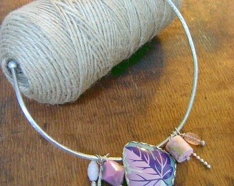 Pastels Choker. Silver, reclaimed tins, lucite, glass.