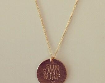 Sun Sand Surf Wave Gold Beach Necklace