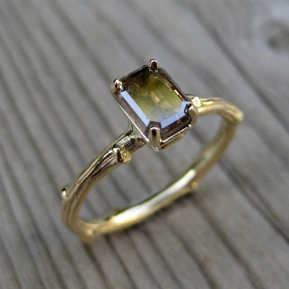 Chocolate Diamond, Emerald Shape Twig Ring in Yellow Gold