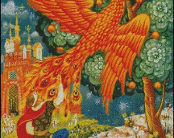 FIRE BIRD cross stitch pattern No.727