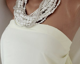 Chunky Statement Pearl Necklace, bold new pearl necklace, boho inspired Bridal White Necklace with Rhinestones