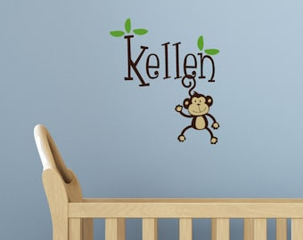 Nursery Wall Decals, Monkey Wall Decal, Monkey Vinyl Decal, Monkey Decal, Monkey Sticker, Monkey monogram, Kids Monkey Decor, monkey Gift