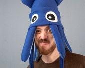 Squid Hat Fleece - Medium Blue Plush
