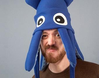 Squid Hat Fleece - Medium Blue Plush