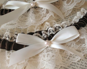Sweet Nothings | Ivory Bridal Garter Set with Chocolate Satin, Champagne Lace, and Antique White Satin Bow with Pearl - Ready to Ship