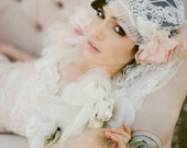 Juliet Bridal Cap, bridal veil, wedding hair piece, silk veil, Chantilly Lace - style 740