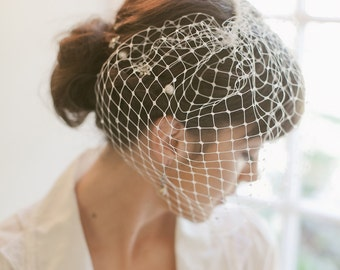 Blusher veil, birdcage veil, Retro, Russian net, cage veil, rhinestones, Style 849