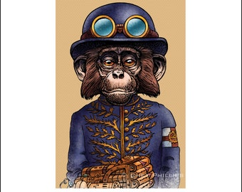 "Theodosia B. Smirch 8"" x 10"" Steampunk Monkey Nation Whimsical Art Print- Monkey Wall Decor"